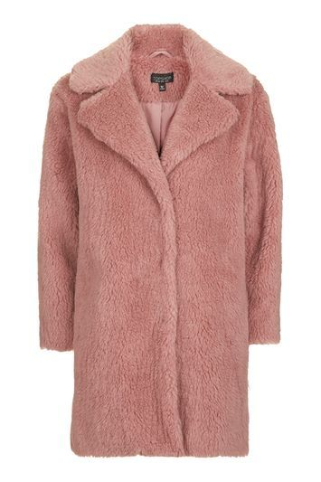 Pink Casual Faux Fur Coat - pattern: plain; fit: loose; style: single breasted; collar: standard lapel/rever collar; length: mid thigh; predominant colour: pink; occasions: casual; fibres: acrylic - 100%; sleeve length: long sleeve; sleeve style: standard; texture group: fur; collar break: medium; pattern type: fabric; season: a/w 2016; wardrobe: highlight
