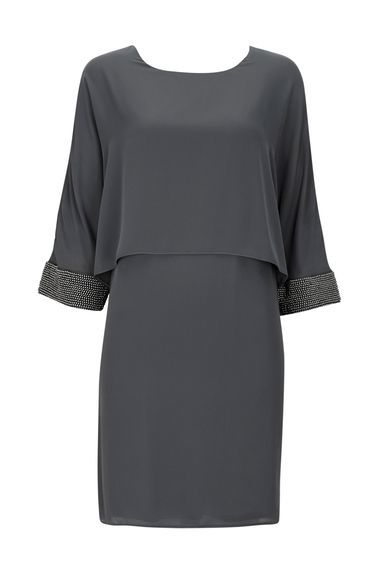 Grey Embellished Overlay Cuff Dress - style: shift; length: mid thigh; neckline: round neck; sleeve style: dolman/batwing; pattern: plain; predominant colour: charcoal; occasions: evening, occasion; fit: body skimming; fibres: polyester/polyamide - stretch; sleeve length: 3/4 length; texture group: crepes; pattern type: fabric; season: a/w 2016; wardrobe: event