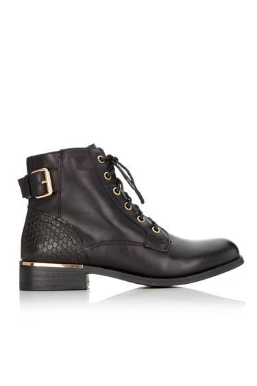 Black Lace Up Ankle Boot - secondary colour: gold; predominant colour: black; occasions: casual, creative work; material: faux leather; heel height: flat; embellishment: buckles; heel: block; toe: round toe; boot length: ankle boot; finish: plain; pattern: plain; style: lace ups; wardrobe: basic; season: a/w 2016