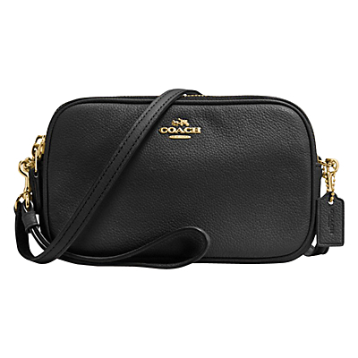 Pebble Leather Across Body Clutch Bag - predominant colour: black; occasions: casual, creative work; type of pattern: standard; style: shoulder; length: across body/long; size: small; material: leather; pattern: plain; finish: plain; season: s/s 2016; wardrobe: investment