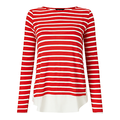 Wilton Striped Top - neckline: round neck; pattern: horizontal stripes; secondary colour: ivory/cream; predominant colour: true red; occasions: casual, creative work; length: standard; style: top; fibres: viscose/rayon - 100%; fit: body skimming; sleeve length: short sleeve; sleeve style: standard; pattern type: fabric; pattern size: standard; texture group: other - light to midweight; season: s/s 2016; wardrobe: highlight