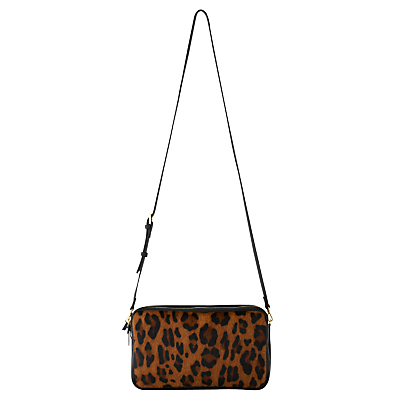 Cornelia Triple Zip Bag - predominant colour: tan; secondary colour: black; occasions: evening; type of pattern: standard; style: shoulder; length: shoulder (tucks under arm); size: small; material: faux leather; pattern: animal print; finish: patent; season: s/s 2016; wardrobe: event