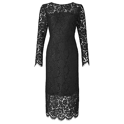 Long Sleeve Lace Dress - style: shift; length: below the knee; neckline: round neck; fit: tailored/fitted; predominant colour: black; occasions: evening, occasion; fibres: polyester/polyamide - 100%; sleeve length: long sleeve; sleeve style: standard; texture group: lace; pattern type: fabric; pattern size: big & busy; pattern: patterned/print; embellishment: lace; shoulder detail: sheer at shoulder; season: a/w 2016; wardrobe: event