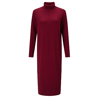 Roll Neck Dress, Burgundy - style: jumper dress; length: calf length; pattern: plain; neckline: roll neck; predominant colour: burgundy; occasions: casual, creative work; fit: body skimming; fibres: viscose/rayon - stretch; sleeve length: long sleeve; sleeve style: standard; texture group: knits/crochet; pattern type: knitted - fine stitch; season: a/w 2016