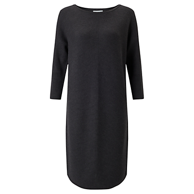 Chevron Rib Dress - style: shift; neckline: slash/boat neckline; pattern: plain; predominant colour: charcoal; occasions: work; length: on the knee; fit: straight cut; fibres: wool - 100%; sleeve length: long sleeve; sleeve style: standard; pattern type: fabric; texture group: jersey - stretchy/drapey; season: a/w 2016