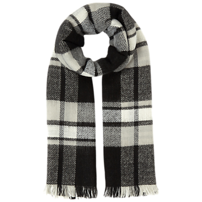 Mono Reverse Check Scarf, Black - secondary colour: ivory/cream; predominant colour: charcoal; occasions: casual, creative work; type of pattern: light; style: regular; size: standard; material: knits; pattern: checked/gingham; season: a/w 2016; wardrobe: highlight
