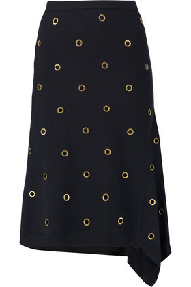 Eyelet Embellished Wool Skirt Midnight Blue - length: below the knee; pattern: plain; style: straight; waist: mid/regular rise; predominant colour: navy; occasions: evening; fibres: wool - 100%; fit: straight cut; pattern type: fabric; texture group: woven light midweight; embellishment: beading; season: a/w 2016; wardrobe: event