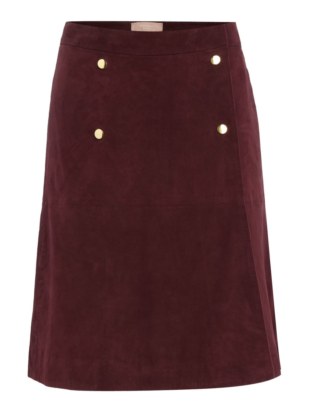 Suede Button Skirt, Burgundy - pattern: plain; style: straight; waist: mid/regular rise; predominant colour: burgundy; occasions: casual; length: just above the knee; fibres: leather - 100%; fit: straight cut; pattern type: fabric; texture group: suede; season: a/w 2016; wardrobe: highlight