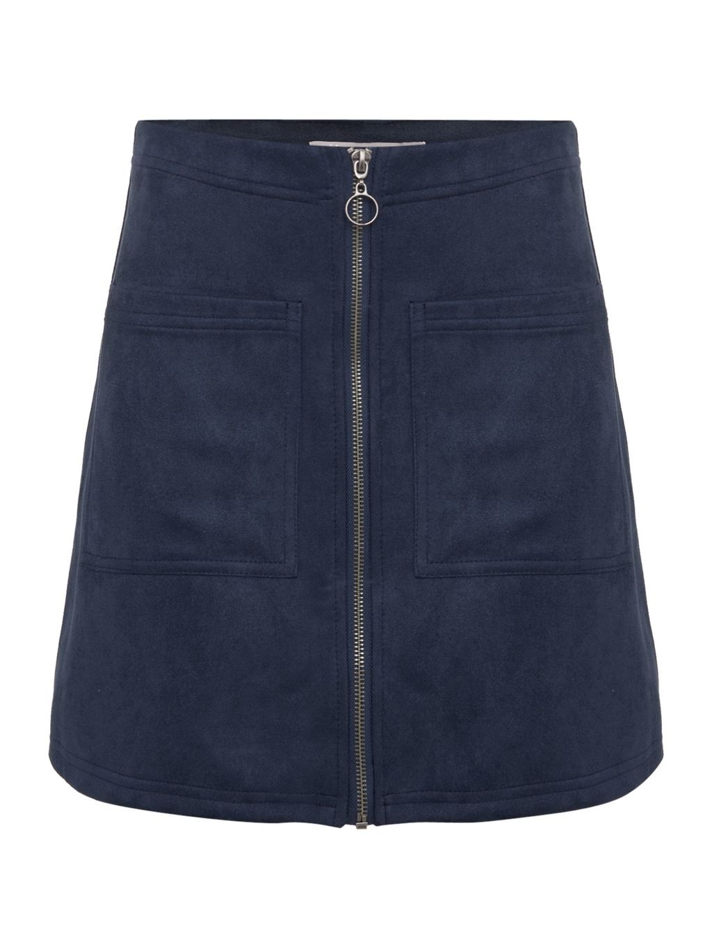 Mercy Skirt, Blue - length: mini; pattern: plain; waist: mid/regular rise; predominant colour: navy; occasions: casual; style: mini skirt; fibres: polyester/polyamide - 100%; hip detail: subtle/flattering hip detail; texture group: leather; fit: straight cut; pattern type: fabric; season: a/w 2016; wardrobe: highlight