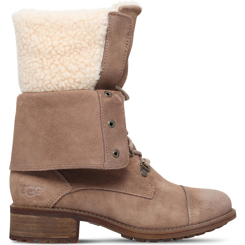 Gradin Suede Boots, Women's, Eur 38 / 5 Uk Women, Dark Brown - secondary colour: ivory/cream; predominant colour: camel; occasions: casual, creative work; material: suede; heel height: flat; heel: block; toe: round toe; boot length: mid calf; finish: plain; pattern: plain; embellishment: fur; style: lace ups; season: a/w 2016; wardrobe: highlight