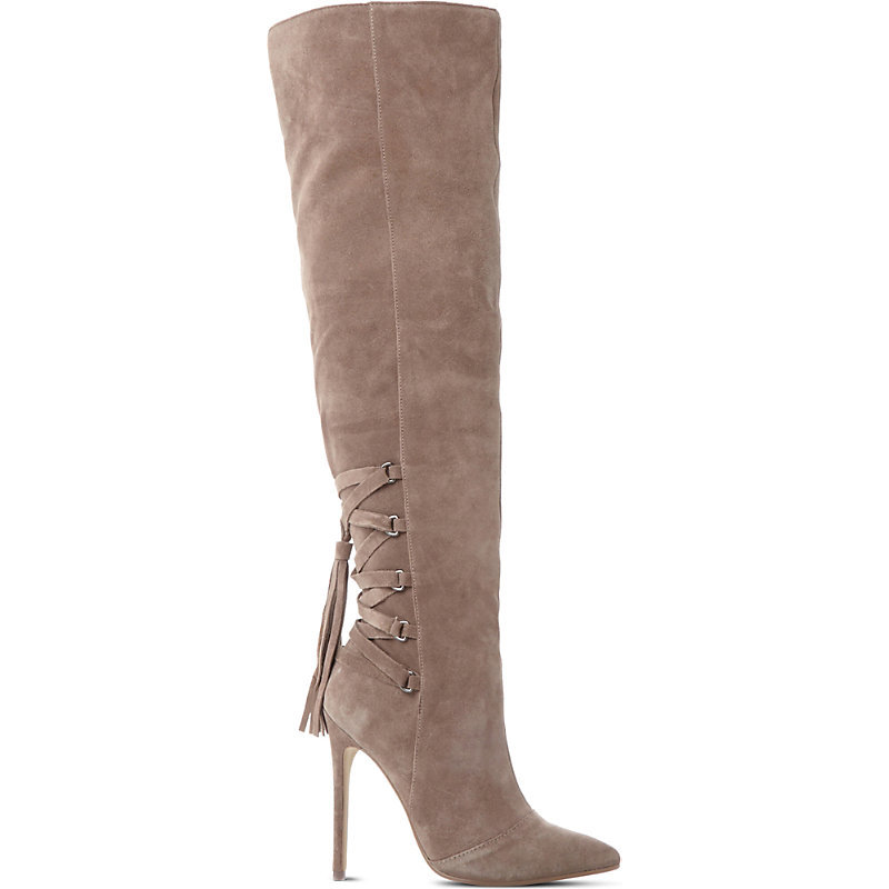 Norland Sm Suede Over The Knee Boot, Women's, Eur 41 / 8 Uk Women, Taupe Suede - predominant colour: taupe; occasions: evening; material: suede; heel height: high; heel: stiletto; toe: pointed toe; boot length: over the knee; style: standard; finish: plain; pattern: plain; season: a/w 2016; wardrobe: event