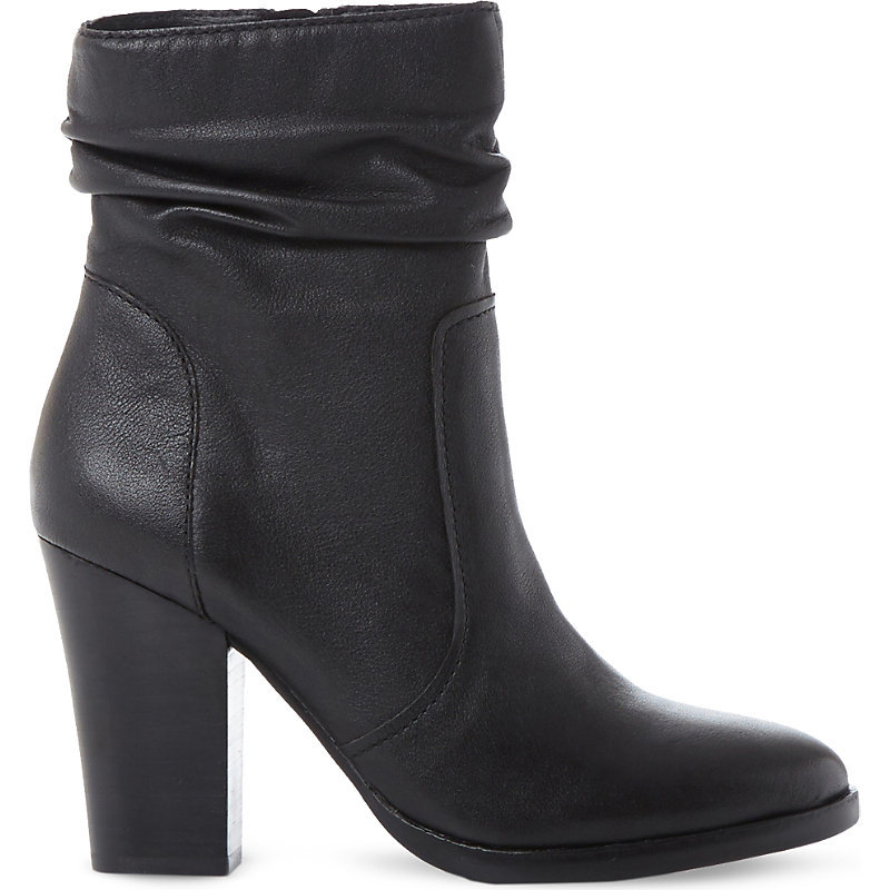 Hunk Sm Leather Calf Boot, Women's, Eur 38 / 5 Uk Women, Black Leather - predominant colour: black; occasions: casual, work, creative work; material: leather; heel height: high; heel: block; toe: round toe; boot length: ankle boot; style: standard; finish: plain; pattern: plain; season: a/w 2016