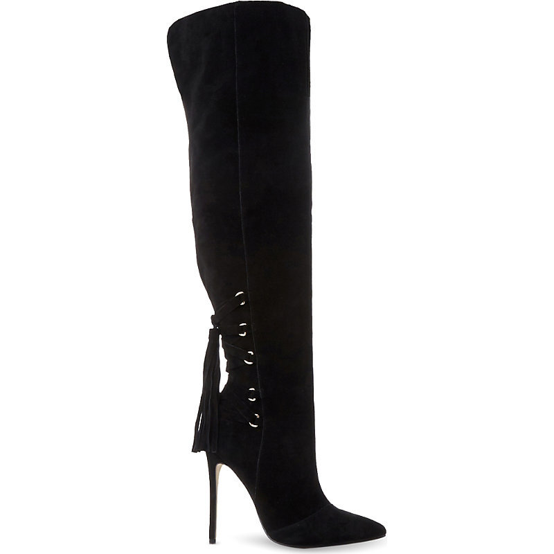 Norland Sm Suede Over The Knee Boot, Women's, Eur 41 / 8 Uk Women, Black Suede - predominant colour: black; occasions: casual, creative work; material: suede; heel: stiletto; toe: pointed toe; boot length: over the knee; style: standard; finish: plain; pattern: plain; heel height: very high; season: a/w 2016