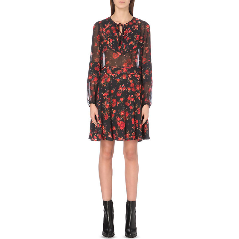 Floral Print Crepe Dress, Women's, Size: Small, Black Red - neckline: pussy bow; secondary colour: true red; predominant colour: black; occasions: evening; length: just above the knee; fit: fitted at waist & bust; style: fit & flare; fibres: polyester/polyamide - 100%; sleeve length: long sleeve; sleeve style: standard; texture group: crepes; pattern type: fabric; pattern: florals; multicoloured: multicoloured; season: a/w 2016; wardrobe: event
