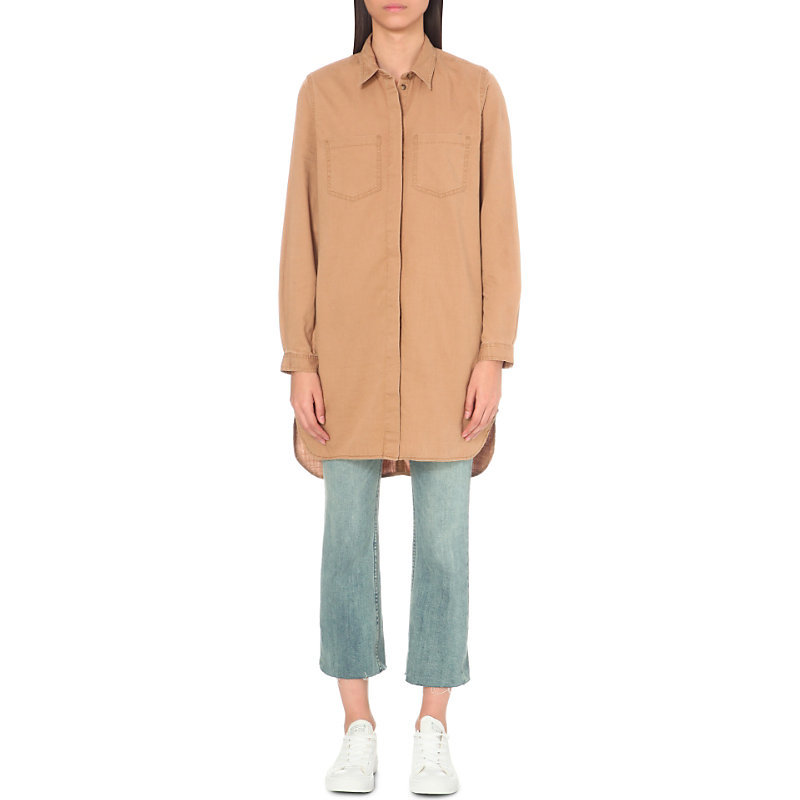 Pistols Cotton Shirt Dress, Women's, Safari Sands - style: shirt; length: mid thigh; neckline: shirt collar/peter pan/zip with opening; fit: loose; pattern: plain; bust detail: pocket detail at bust; predominant colour: camel; occasions: casual; fibres: cotton - 100%; sleeve length: long sleeve; sleeve style: standard; texture group: cotton feel fabrics; pattern type: fabric; wardrobe: basic; season: a/w 2016