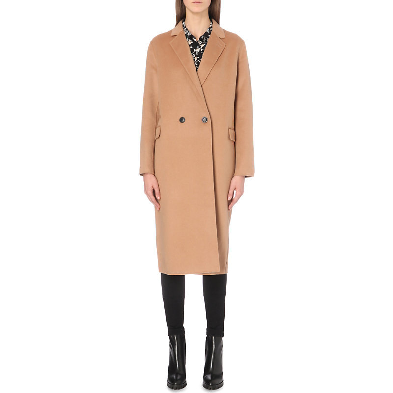 Double Faced Wool Coat, Women's, Camel - pattern: plain; style: double breasted; collar: standard lapel/rever collar; predominant colour: camel; occasions: casual; fit: tailored/fitted; fibres: wool - 100%; length: below the knee; sleeve length: long sleeve; sleeve style: standard; collar break: medium; pattern type: fabric; texture group: woven bulky/heavy; wardrobe: basic; season: a/w 2016