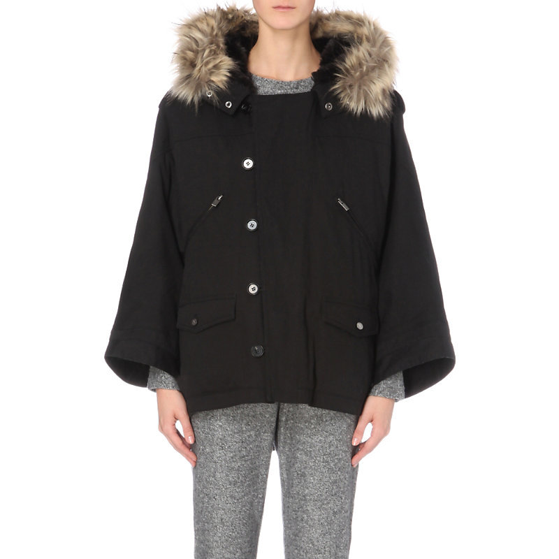 Faux Fur Trim Cotton Canvas Parka Coat, Women's, Size: Medium, Black - pattern: plain; length: below the bottom; collar: funnel; fit: loose; style: parka; back detail: hood; predominant colour: black; occasions: casual; fibres: cotton - 100%; sleeve length: long sleeve; sleeve style: standard; collar break: high; pattern type: fabric; texture group: woven bulky/heavy; embellishment: fur; season: a/w 2016; wardrobe: highlight