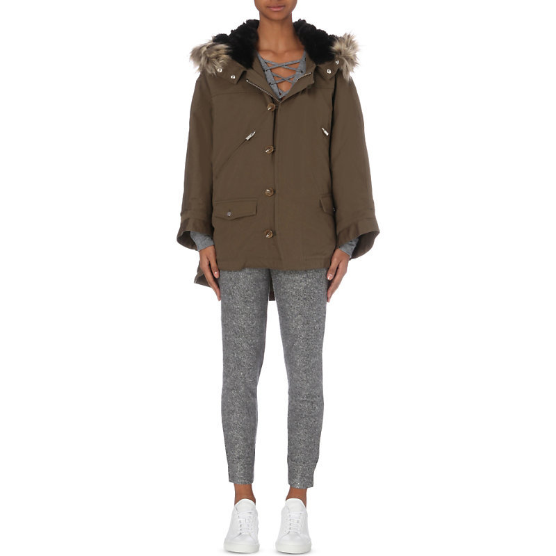 Faux Fur Trim Cotton Canvas Parka Coat, Women's, Size: Small, Green - pattern: plain; length: below the bottom; collar: funnel; fit: loose; style: parka; back detail: hood; predominant colour: khaki; occasions: casual; fibres: cotton - 100%; sleeve length: long sleeve; sleeve style: standard; collar break: high; pattern type: fabric; texture group: woven bulky/heavy; embellishment: fur; season: a/w 2016; wardrobe: highlight