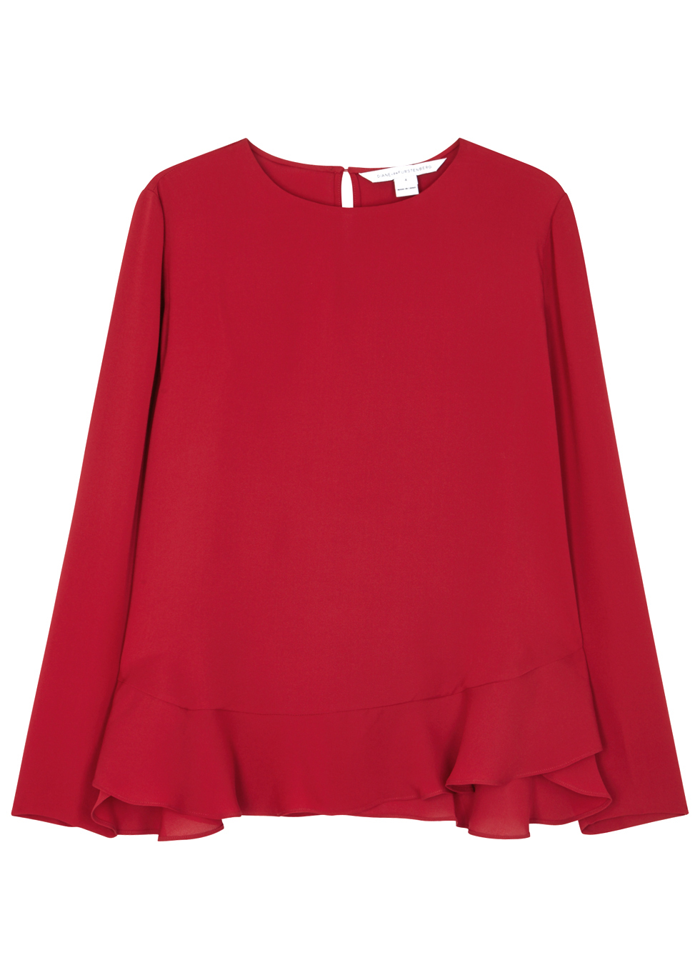 Gallia Red Ruffled Silk Blouse - pattern: plain; style: blouse; predominant colour: true red; occasions: evening; length: standard; fibres: silk - 100%; fit: straight cut; neckline: crew; hip detail: adds bulk at the hips; sleeve length: long sleeve; sleeve style: standard; texture group: silky - light; pattern type: fabric; season: a/w 2016; wardrobe: event