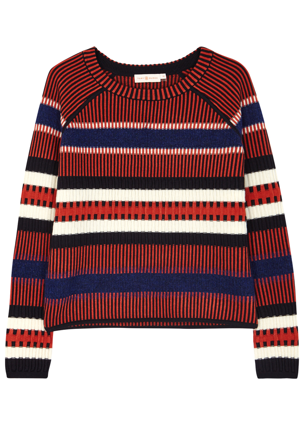 Monterey Striped Wool Blend Jumper - neckline: round neck; sleeve style: raglan; pattern: horizontal stripes; style: standard; predominant colour: navy; occasions: casual, creative work; length: standard; fibres: wool - mix; fit: standard fit; sleeve length: long sleeve; texture group: knits/crochet; pattern type: knitted - fine stitch; pattern size: big & busy (top); multicoloured: multicoloured; season: a/w 2016; wardrobe: highlight
