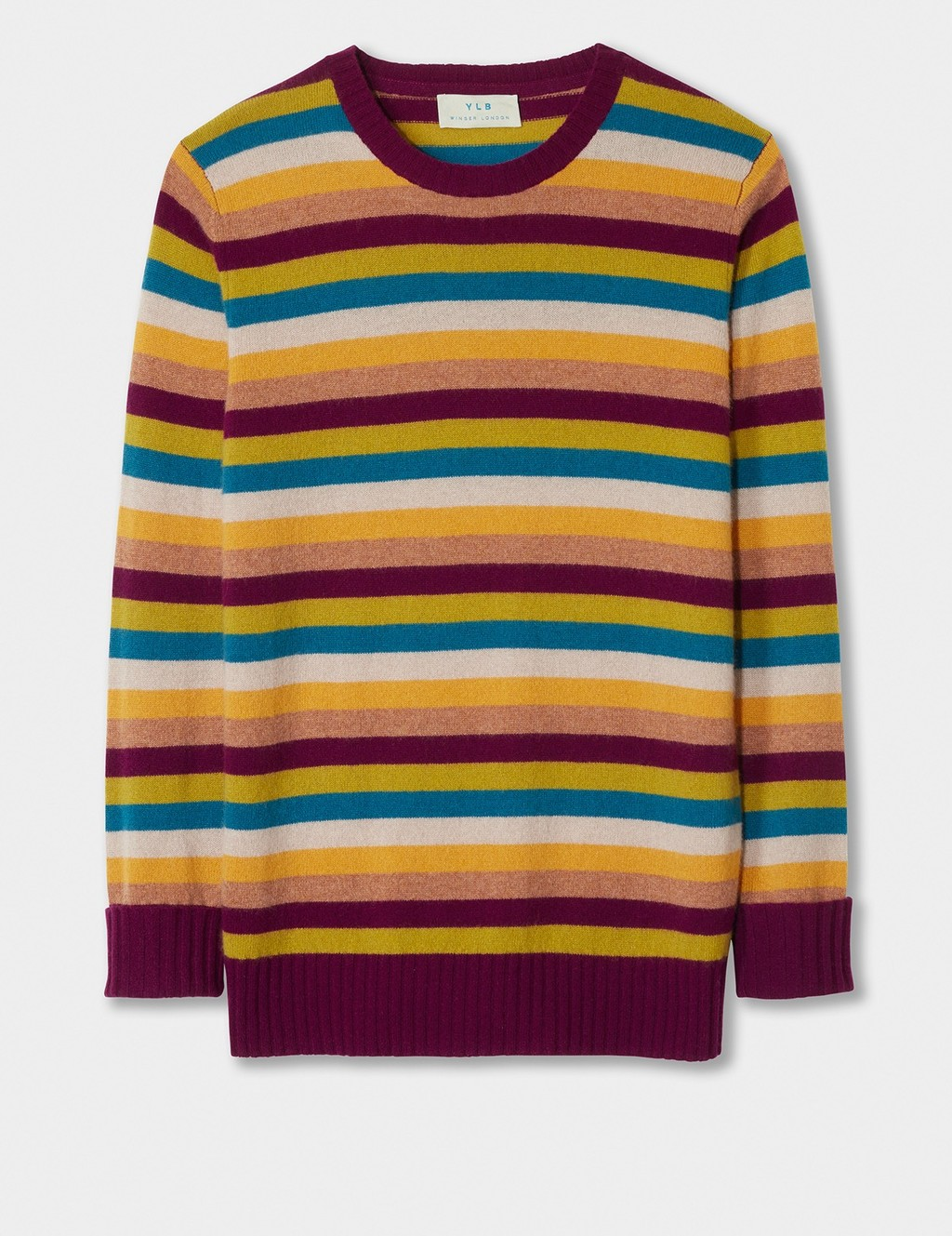 Cashmere Stripe Boyfriend Jumper - neckline: round neck; pattern: horizontal stripes; style: standard; predominant colour: burgundy; occasions: casual, creative work; length: standard; fit: standard fit; fibres: cashmere - 100%; sleeve length: long sleeve; sleeve style: standard; texture group: knits/crochet; pattern type: knitted - fine stitch; pattern size: big & busy (top); multicoloured: multicoloured; season: a/w 2016