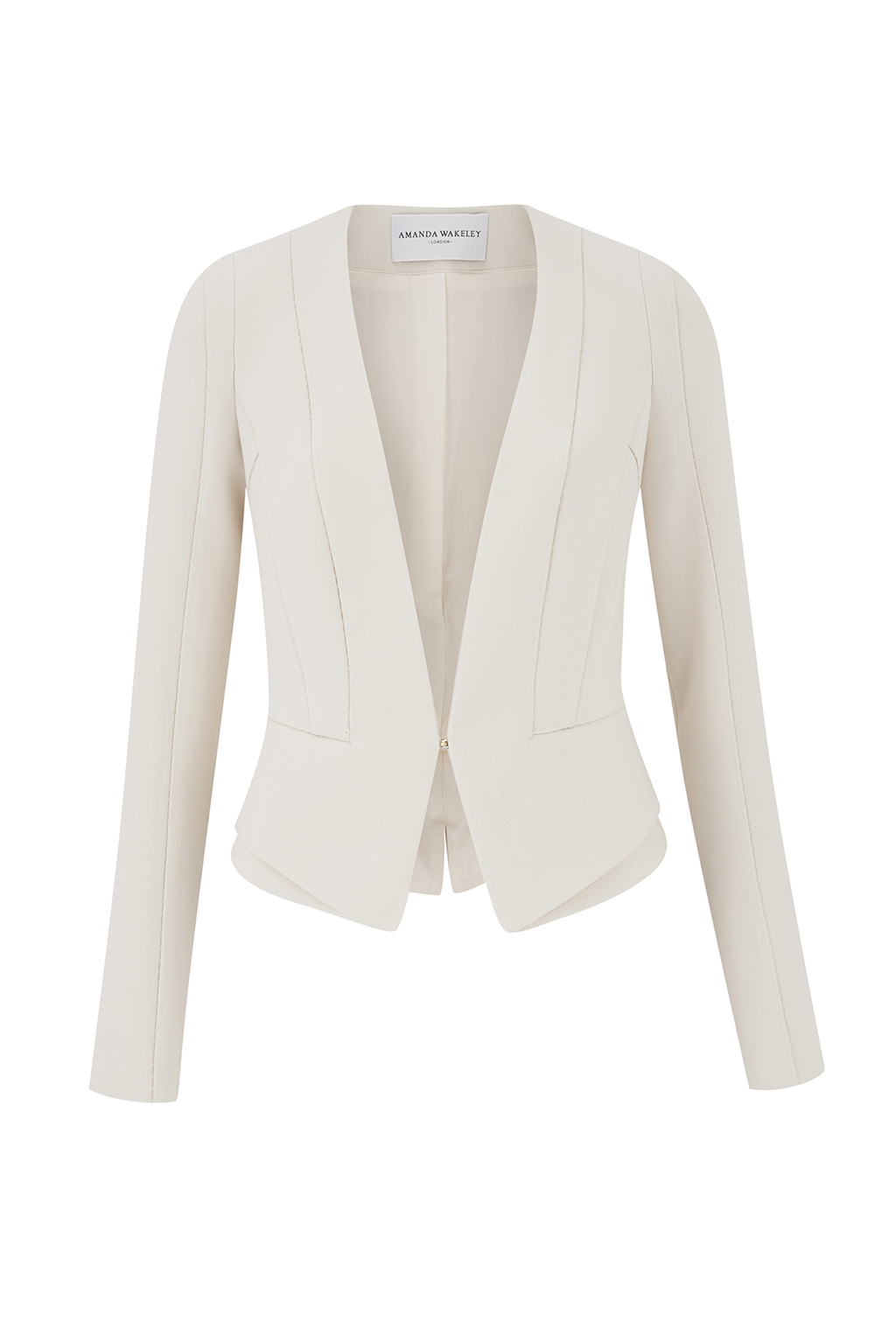 Midtown Cream Tailored Jacket - pattern: plain; style: single breasted blazer; collar: round collar/collarless; predominant colour: ivory/cream; length: standard; fit: tailored/fitted; fibres: polyester/polyamide - mix; occasions: occasion; sleeve length: long sleeve; sleeve style: standard; texture group: crepes; collar break: low/open; pattern type: fabric; season: a/w 2016