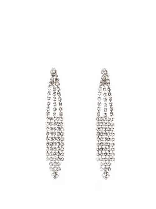 Cocktail Fan Embellished Clip On Earrings - predominant colour: silver; occasions: evening, occasion; style: chandelier; length: extra long; size: large/oversized; material: chain/metal; fastening: pierced; finish: metallic; embellishment: crystals/glass; season: a/w 2016; wardrobe: event
