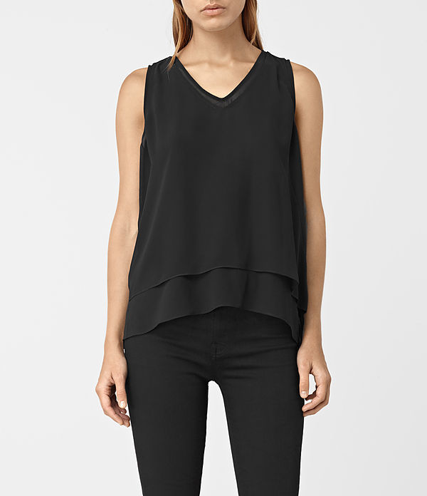 Twin Top - neckline: v-neck; pattern: plain; sleeve style: sleeveless; predominant colour: black; occasions: casual, evening, creative work; length: standard; style: top; fibres: polyester/polyamide - 100%; fit: loose; hip detail: adds bulk at the hips; sleeve length: sleeveless; texture group: sheer fabrics/chiffon/organza etc.; pattern type: fabric; season: a/w 2016; wardrobe: highlight
