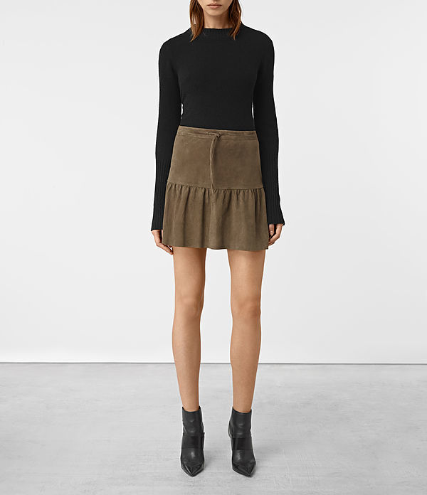 Haslam Suede Skirt - length: mid thigh; pattern: plain; fit: loose/voluminous; style: pleated; waist: high rise; predominant colour: chocolate brown; occasions: casual, creative work; fibres: leather - 100%; hip detail: soft pleats at hip/draping at hip/flared at hip; pattern type: fabric; texture group: suede; season: a/w 2016