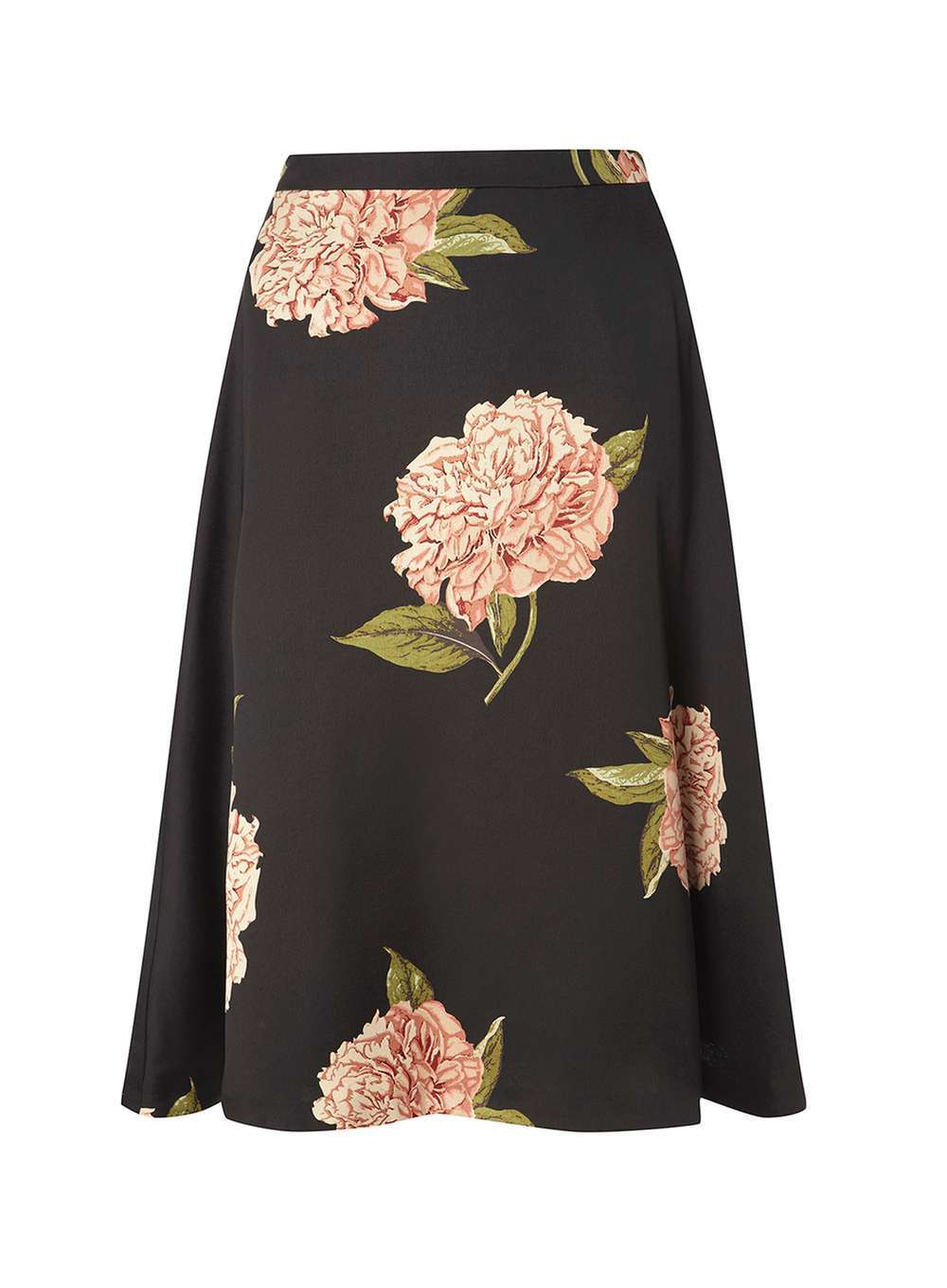 Womens Black Floral Satin Full Skirt Black - length: below the knee; style: full/prom skirt; fit: loose/voluminous; waist: high rise; predominant colour: black; fibres: polyester/polyamide - 100%; occasions: occasion; hip detail: soft pleats at hip/draping at hip/flared at hip; pattern type: fabric; pattern: florals; texture group: woven light midweight; multicoloured: multicoloured; season: a/w 2016; wardrobe: event