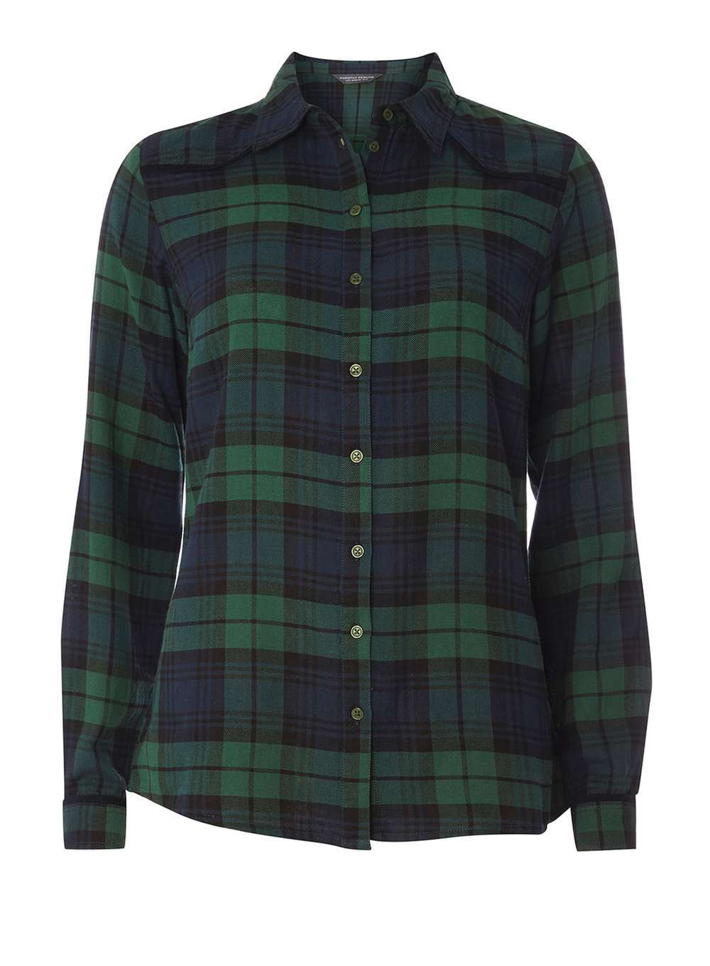 Womens **Tall Green Yoke Detail Check Shirt Green - neckline: shirt collar/peter pan/zip with opening; pattern: checked/gingham; style: shirt; secondary colour: navy; predominant colour: dark green; occasions: casual, creative work; length: standard; fibres: cotton - 100%; fit: body skimming; sleeve length: long sleeve; sleeve style: standard; texture group: cotton feel fabrics; pattern type: fabric; pattern size: big & busy (top); multicoloured: multicoloured; season: a/w 2016; wardrobe: highlight