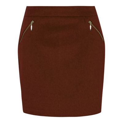 Zip Detail A Line Skirt Chocolate - length: mid thigh; pattern: plain; waist: mid/regular rise; predominant colour: chocolate brown; occasions: casual, creative work; style: a-line; fibres: polyester/polyamide - mix; fit: straight cut; pattern type: fabric; texture group: woven light midweight; embellishment: zips; season: a/w 2016; wardrobe: highlight