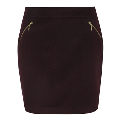 Zip Detail A Line Skirt Purple - length: mini; pattern: plain; fit: tight; waist: mid/regular rise; predominant colour: aubergine; occasions: casual; style: mini skirt; fibres: polyester/polyamide - mix; pattern type: fabric; texture group: woven light midweight; embellishment: zips; season: a/w 2016; wardrobe: highlight