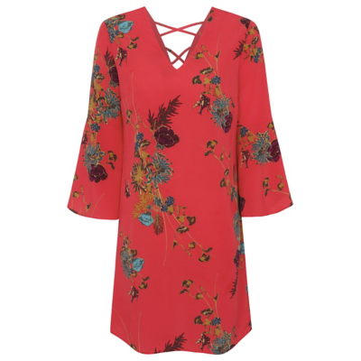 Floral Print Cross Back Dress Red - style: tunic; length: mid thigh; neckline: v-neck; sleeve style: angel/waterfall; secondary colour: teal; predominant colour: coral; occasions: evening; fit: soft a-line; fibres: polyester/polyamide - 100%; sleeve length: 3/4 length; texture group: crepes; pattern type: fabric; pattern: florals; season: a/w 2016; wardrobe: event