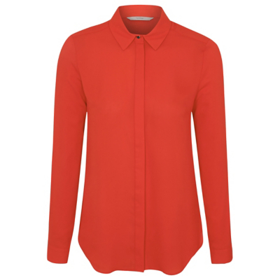 Long Sleeve Woven Shirt Orange - neckline: shirt collar/peter pan/zip with opening; pattern: plain; style: shirt; predominant colour: bright orange; occasions: casual, creative work; length: standard; fibres: polyester/polyamide - 100%; fit: body skimming; sleeve length: long sleeve; sleeve style: standard; texture group: sheer fabrics/chiffon/organza etc.; pattern type: fabric; season: a/w 2016; wardrobe: highlight