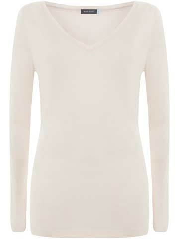 Powder Long Sleeve Layering Tee - neckline: v-neck; pattern: plain; style: t-shirt; predominant colour: ivory/cream; occasions: casual, creative work; fibres: viscose/rayon - 100%; fit: body skimming; length: mid thigh; sleeve length: long sleeve; sleeve style: standard; pattern type: fabric; texture group: jersey - stretchy/drapey; wardrobe: basic; season: a/w 2016