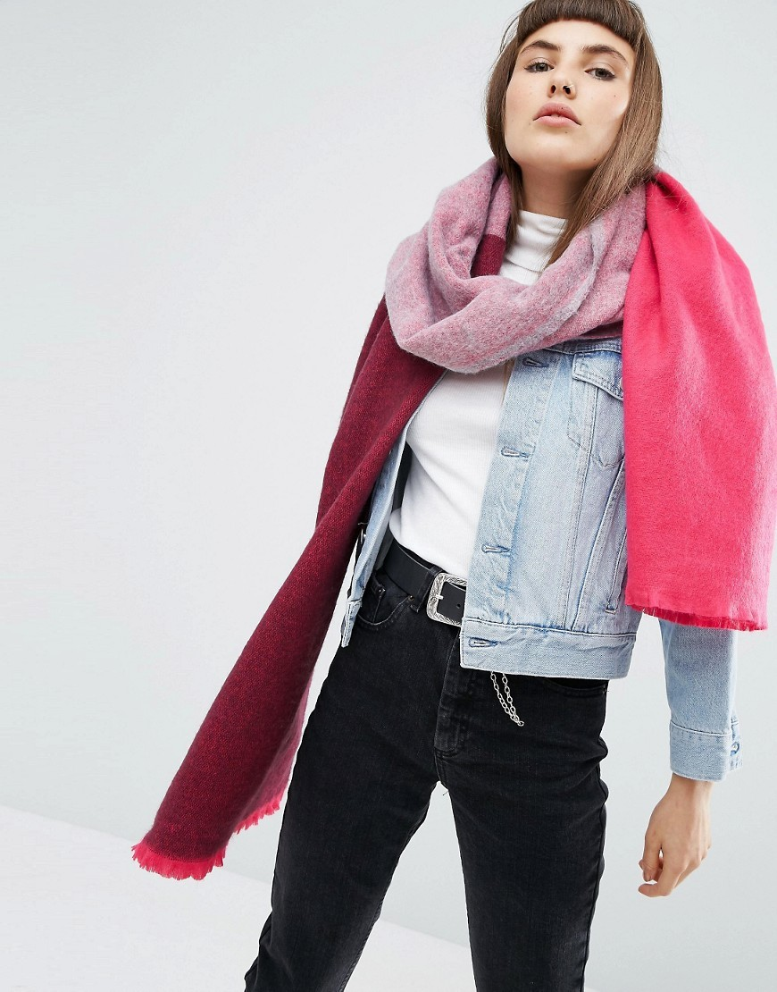 Supersoft Long Woven Scarf In Colour Block Pink - predominant colour: hot pink; secondary colour: burgundy; occasions: casual, creative work; type of pattern: light; style: regular; size: standard; material: fabric; pattern: colourblock; season: a/w 2016; wardrobe: highlight
