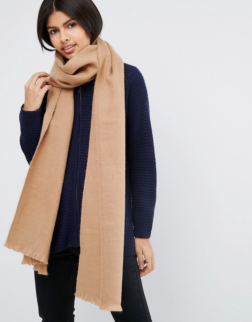 Supersoft Long Woven Scarf Brown - predominant colour: camel; occasions: casual; type of pattern: standard; style: regular; size: standard; material: fabric; pattern: plain; wardrobe: basic; season: a/w 2016