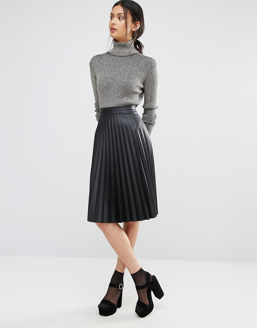 Leather Look Pleated Midi Skirt Black - length: below the knee; pattern: plain; fit: loose/voluminous; style: pleated; waist: high rise; predominant colour: black; occasions: work, creative work; fibres: polyester/polyamide - 100%; texture group: leather; pattern type: fabric; season: a/w 2016; wardrobe: highlight
