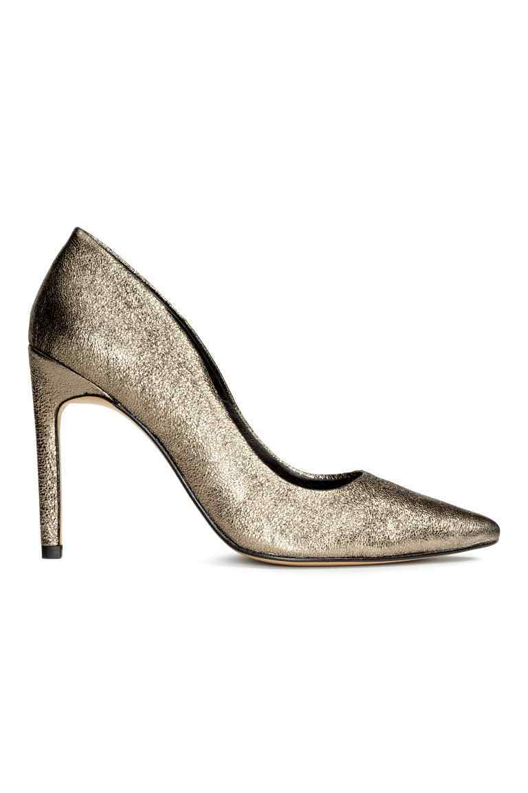 Leather Court Shoes - predominant colour: gold; occasions: evening; material: leather; heel height: high; heel: stiletto; toe: pointed toe; style: courts; finish: metallic; pattern: plain; season: a/w 2016; wardrobe: event