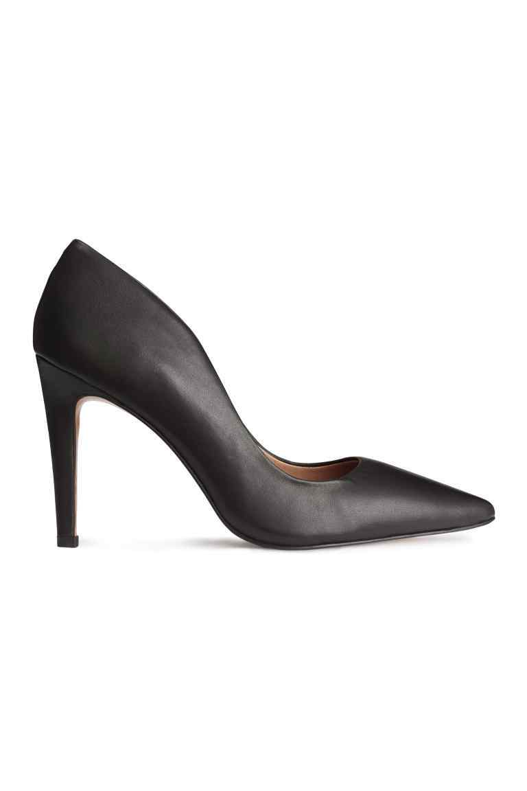 Leather Court Shoes - predominant colour: black; occasions: evening; material: leather; heel height: high; heel: stiletto; toe: pointed toe; style: courts; finish: plain; pattern: plain; season: a/w 2016
