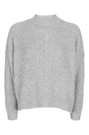 Petite Boxy Ribbed Knitted Jumper - pattern: plain; neckline: high neck; style: standard; predominant colour: light grey; occasions: casual, creative work; length: standard; fibres: acrylic - mix; fit: loose; sleeve length: long sleeve; sleeve style: standard; texture group: knits/crochet; pattern type: knitted - fine stitch; pattern size: standard; wardrobe: basic; season: a/w 2016