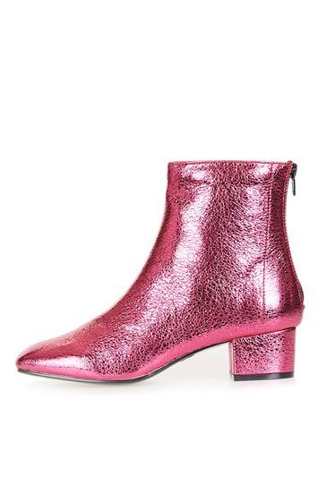 Kobra Boots - predominant colour: pink; occasions: casual, creative work; material: faux leather; heel height: mid; heel: block; toe: pointed toe; boot length: ankle boot; style: standard; finish: metallic; pattern: plain; season: a/w 2016; wardrobe: highlight; trends: metallics