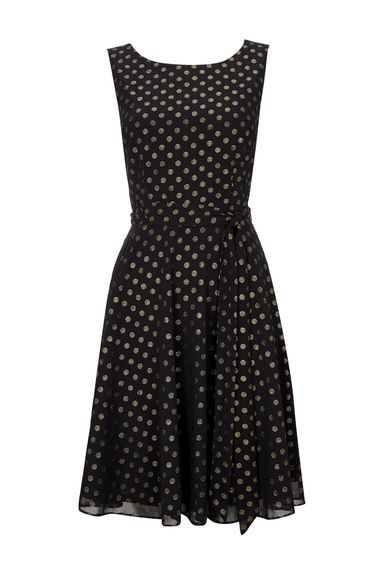 Black Embellished Spot Fit And Flare Dress - neckline: round neck; sleeve style: sleeveless; waist detail: belted waist/tie at waist/drawstring; secondary colour: gold; predominant colour: black; occasions: evening, occasion; length: on the knee; fit: fitted at waist & bust; style: fit & flare; fibres: polyester/polyamide - 100%; sleeve length: sleeveless; texture group: sheer fabrics/chiffon/organza etc.; pattern type: fabric; pattern: patterned/print; season: a/w 2016; wardrobe: event; trends: sparkle