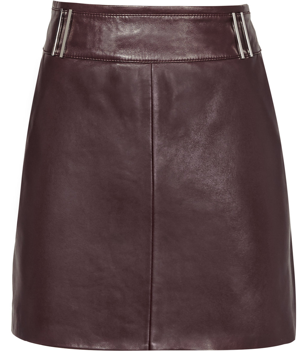 Vale Womens Leather Skirt In Red - length: mid thigh; pattern: plain; fit: loose/voluminous; waist: high rise; predominant colour: aubergine; occasions: casual, creative work; style: a-line; fibres: leather - 100%; texture group: leather; pattern type: fabric; season: a/w 2016; wardrobe: highlight