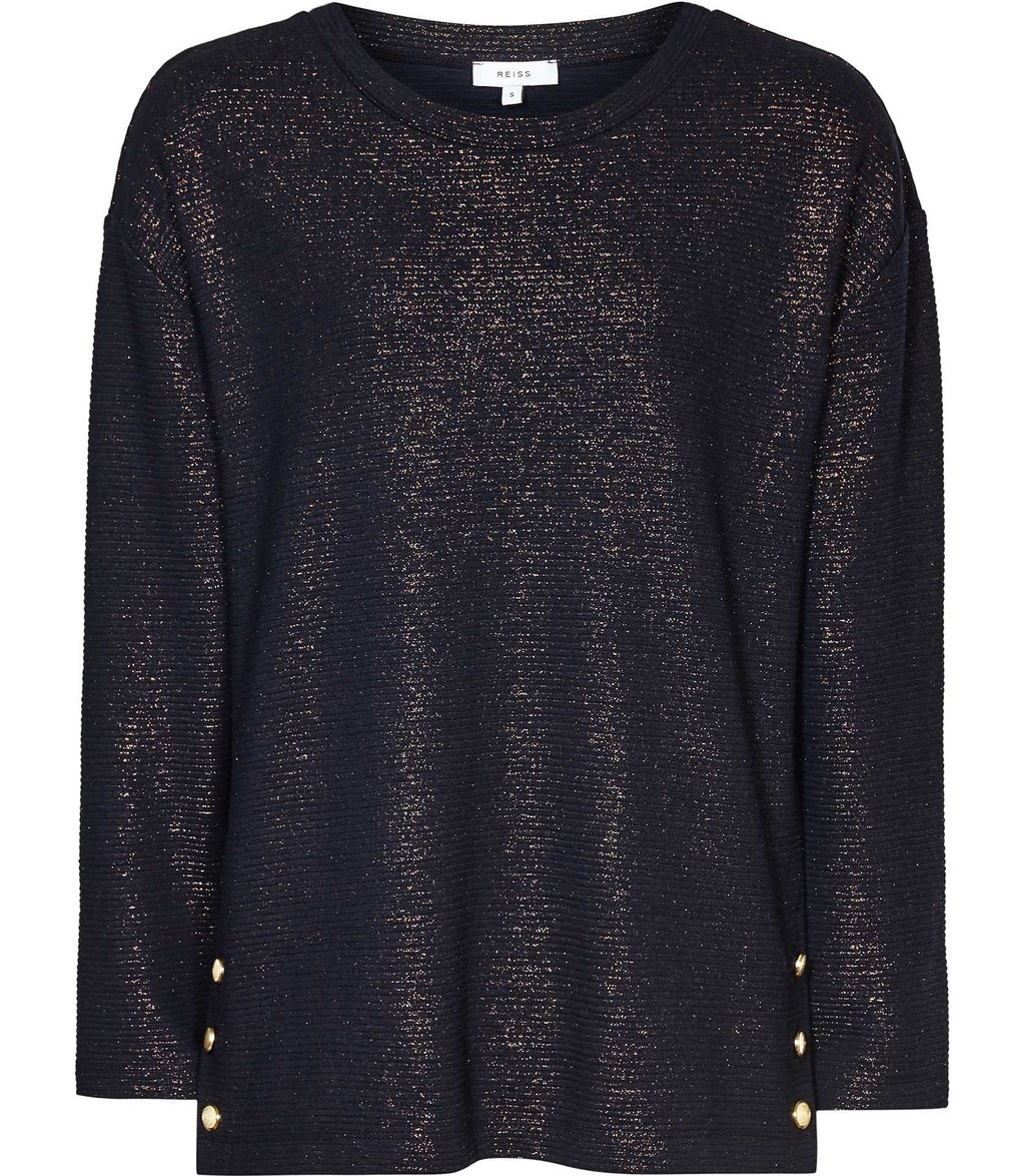 Finch Womens Metallic Top In Blue - neckline: round neck; pattern: plain; predominant colour: navy; secondary colour: gold; occasions: casual, creative work; length: standard; style: top; fibres: wool - mix; fit: loose; sleeve length: long sleeve; sleeve style: standard; pattern type: fabric; texture group: jersey - stretchy/drapey; embellishment: glitter; season: a/w 2016; wardrobe: highlight; embellishment location: all over