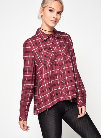 Womens Petite Burgundy Check Shirt, Burgundy - neckline: shirt collar/peter pan/zip with opening; pattern: checked/gingham; style: shirt; secondary colour: white; predominant colour: burgundy; occasions: casual; length: standard; fibres: viscose/rayon - 100%; fit: loose; sleeve length: long sleeve; sleeve style: standard; pattern type: fabric; texture group: other - light to midweight; multicoloured: multicoloured; season: a/w 2016; wardrobe: highlight