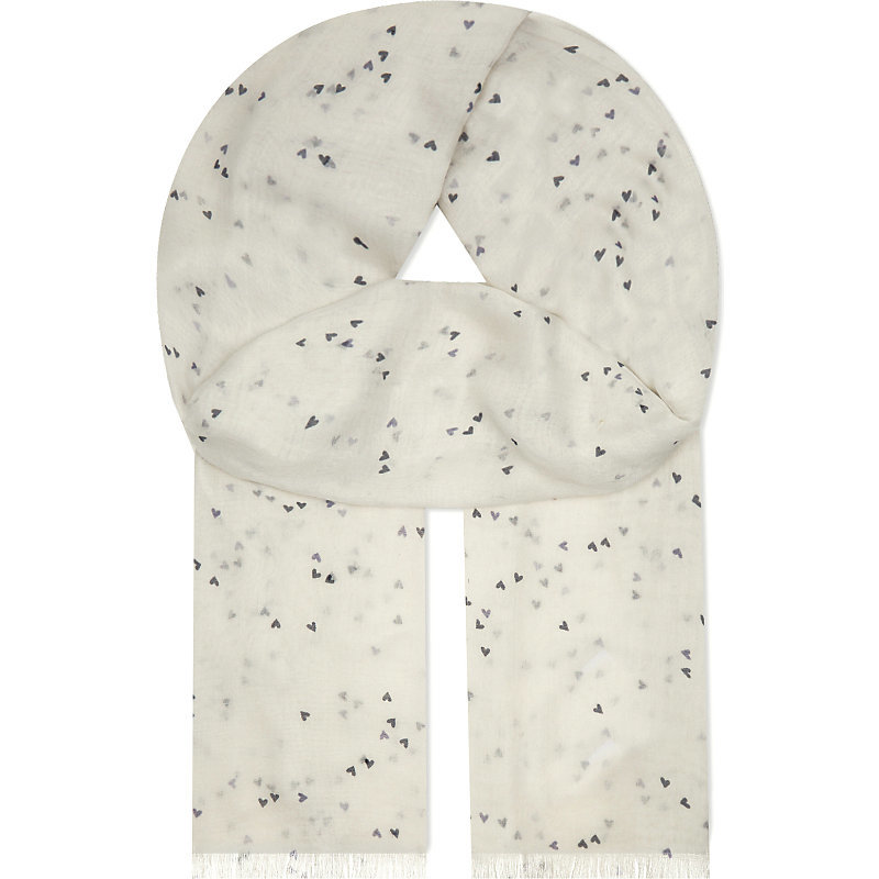 Mini Heart Print Cotton Scarf, Women's, Grey - predominant colour: white; secondary colour: black; occasions: casual; type of pattern: standard; style: regular; size: standard; material: fabric; pattern: patterned/print; multicoloured: multicoloured; season: a/w 2016