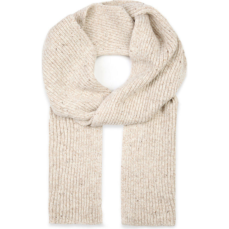 Waffle Knit Wool Blend Scarf, Women's, 040 Ecru - predominant colour: ivory/cream; occasions: casual; type of pattern: standard; style: regular; size: standard; material: knits; pattern: plain; season: a/w 2016