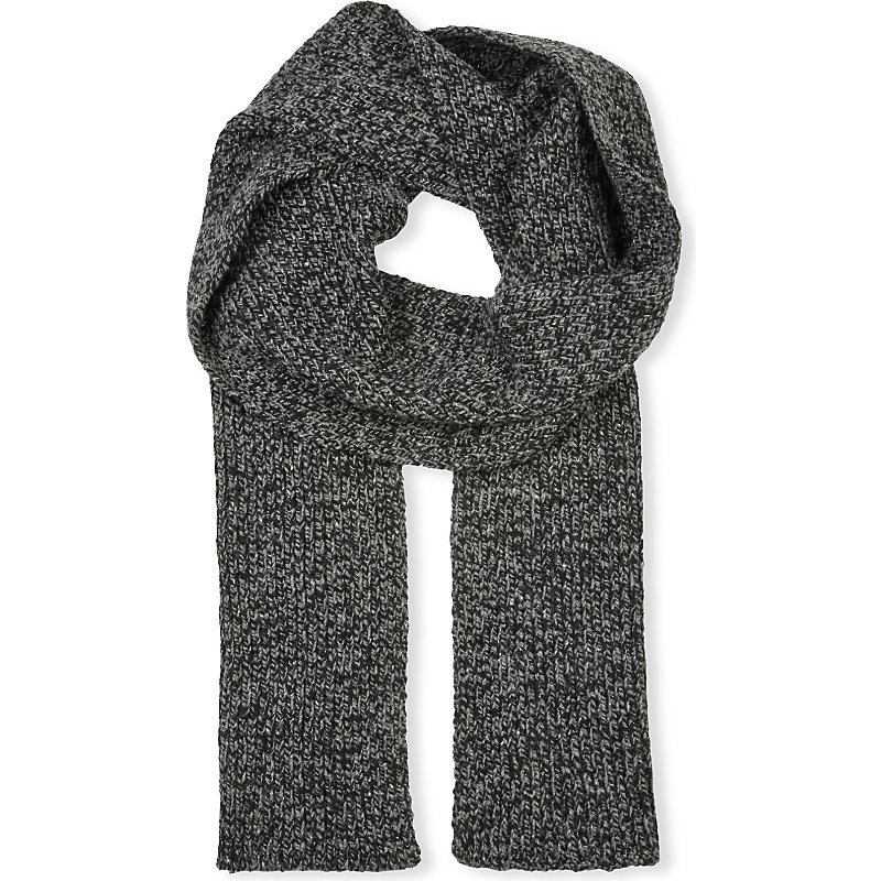Waffle Knit Wool Blend Scarf, Women's, 286 Coal - predominant colour: mid grey; occasions: casual; type of pattern: standard; style: regular; size: standard; material: knits; pattern: plain; season: a/w 2016
